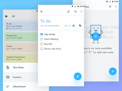 Note - Mobile App Design UIUX ios notification folder cute illustration android note todo mascot minimal minimalist freelance ui illustration notes edit popup check character blank empty materialdesign gui fun empty state design color inspiration list enjoyable notification flat checkbox ux