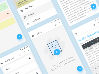 Note - Mobile App Design UX/UI 2018 android notes error illustrator ahmedabad rich text editor interfaces card clean edit iphone ios 10 typography awesome cool bold enjoyable minimal notebook page illustration cute character state empty space missing ui ux minimalist mobile write text