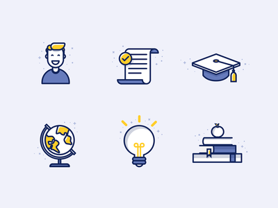 Education icons school iconset iconography college school outline idea education flat bulb vector earth happy cohesive kids startup college edu tech web consistent student isometric illustration icon figma