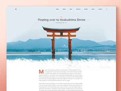 Cortana - Article design retro website ui red web simple blog clean travel layout article japan ux minimalist minimal