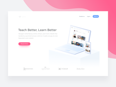 Landing Page - Learning Management System artificial intelligence edu tech machine learning home ai learning sign up learn hero ux edu web product tech app minimal product sketch icon mobile desk education iphone illustration laptop mobile website macbook android ui ios isometric landing page