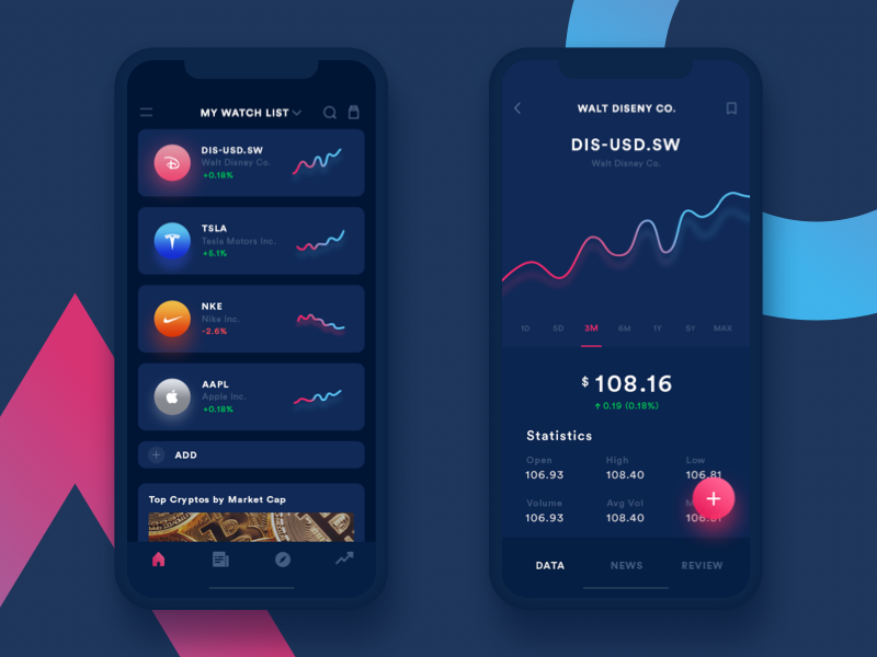 Trading App ui dark inspiration gradient dashboard menu bitcoin stocks price ios payment minimal finance currency fintech graph crypto wallet mobile chart list iphone x icon trading