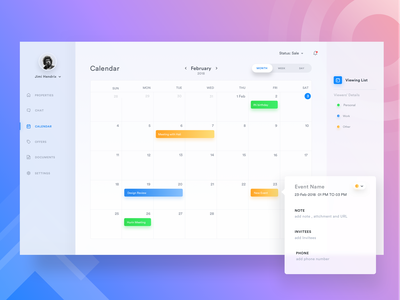 🗓️ Calendar view - Sale/ Buy Property Web app crm saas 2019 best of dribbble green event enterprise enterprise app admin marketplace material cards mac sell app minimal clean uxdesign meeting fluent microsoft mobile designer website ios illustration webdesign management real estate uidesign mobile clean flat dashboard experience user interface empty house web ux minimal space ui rent schedule fluent property sell icons design
