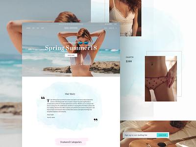 Bluestrom - fashion website retro lingerie summer woman website page fashion landing beach ecommerce home page minimal web clean ux ui design bra