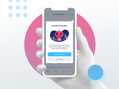 Notifications Permission ask permission empty states page state cute mobile notifications x permission character monster ui design space gradient mobile ios 11 empty ux card alert stock.character illustraiton app