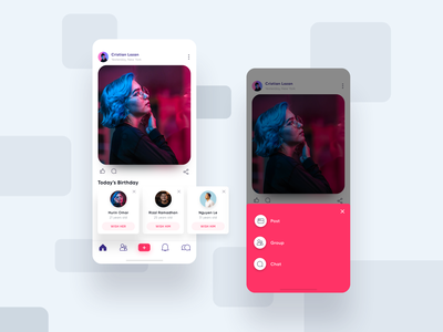 Social iOS App friend developement profile notification chat icon user interface mobile design inspiration ux ui typogaphy layout card feed social android ios app