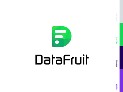 Datafruit Logo symbol identity design company mark tech company data fruit green technology bitcoin data analytics software tech data mobile web branding vector logo inspiration