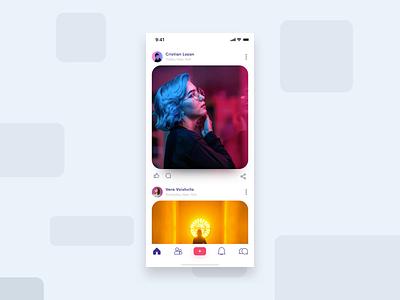 Social App Interaction feed gif photo my birthday principal design app minimal icon inspiration post swipe up xd micro motion design mobile app animation ui  ux ui card social interaction app