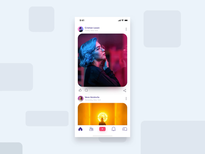 Social App Interaction feed gif photo my birthday principal design app minimal icon inspiration post swipe up xd micro motion design mobile app animation ui  ux ui card social interaction app