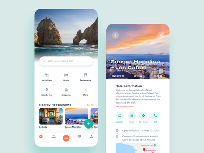 Travel iOS App nearby direction website ui email icon call 设计 分享 sos 插图 nearby 图标 ux experience user restaurant hotel shoping user chat adventure tour interface visual trip planner interaction hotel app friend profile food app mobile navigation bar travel guide inspiration