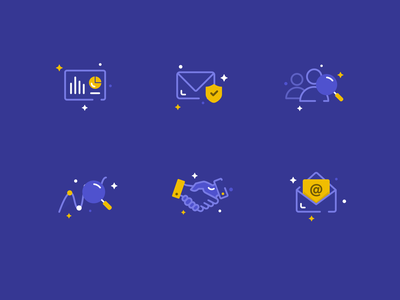 Icons for website landing page line b2b inspiration dashboard illustrations landing home page website icons seo outreach software leads cold marketing prospects email illustrator web design illustration