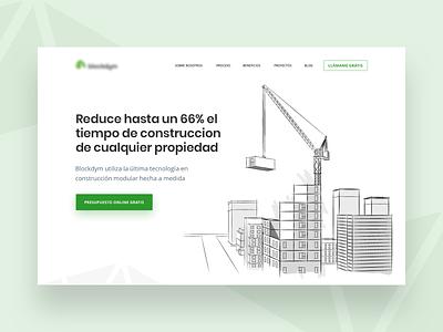 Blockdym - Website project product startup modular construction property minimal ui design illustration web website