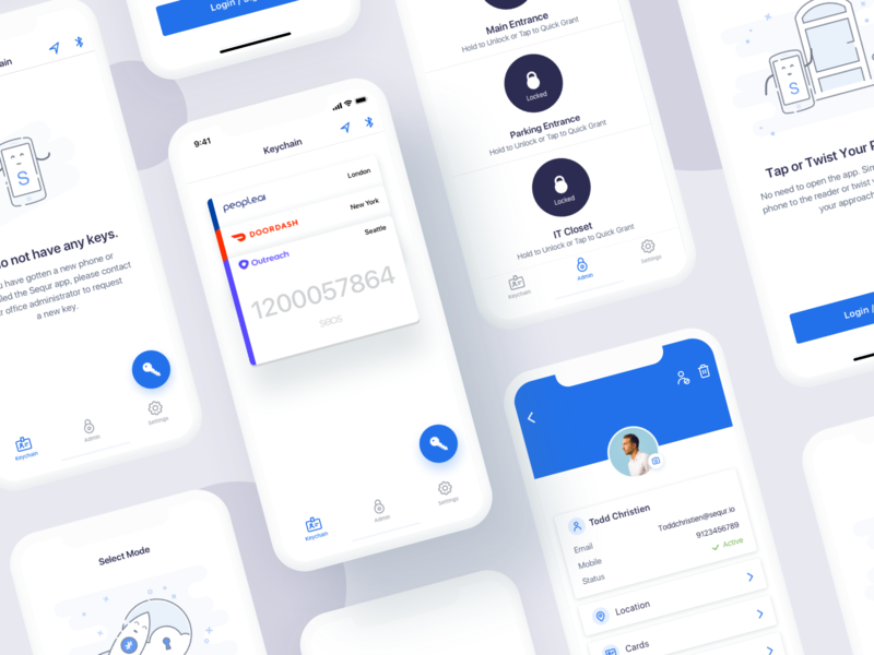 sequr - ios -access control system app door ios saas startup system access visual design iot empty states inspiration illustration design ux mobile ui