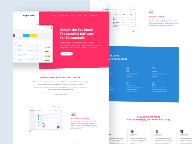 Scopeleads - Website Exploration 01 icons landing page webapp saas leads illustration design ui ux website