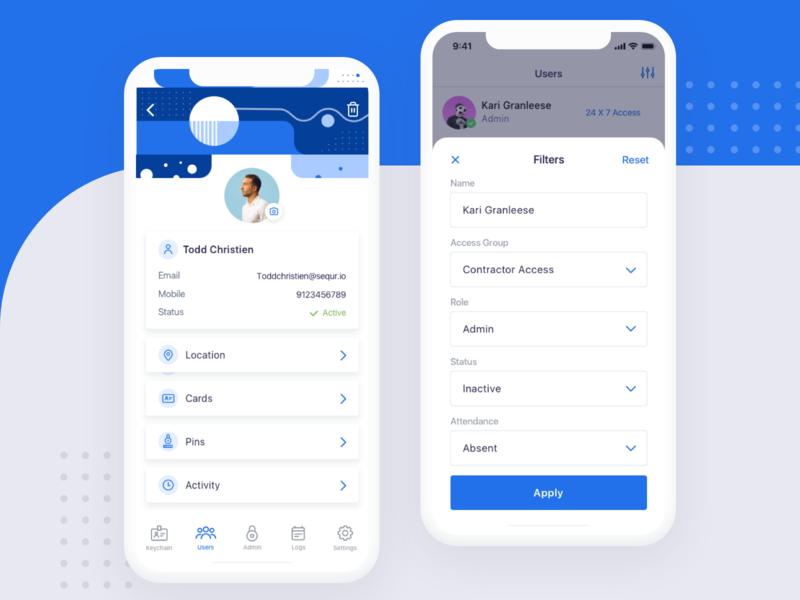 User Management & Filter backdrop icons filter inspiration illustration design ux ui mobile ios app