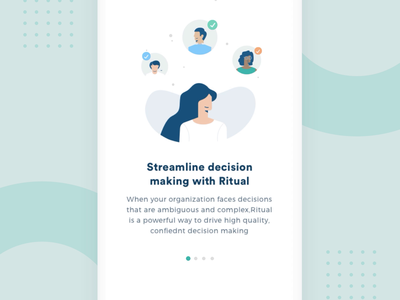 Walkthroughs - Ritual App office startup illustrator green illumination icons iftikharshaikh people character inspiration ios ux app ui mobile walkthrough onboarding interaction gif illustration