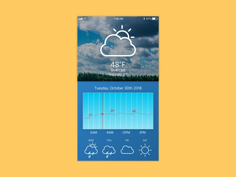 Daily UI #037 – Weather by Odin Aerni | Dribbble | Dribbble