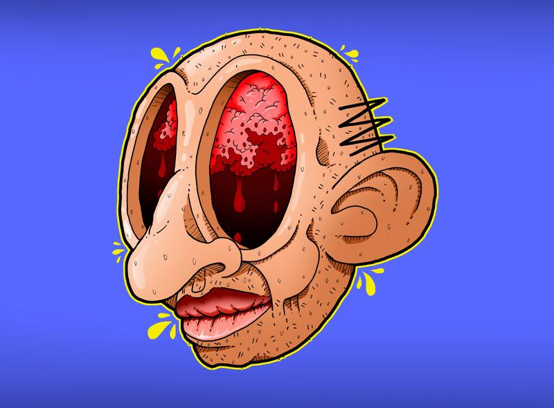 The brain man character album design cartoon comic photoshop illustration editorial-illustration drawing digital-art