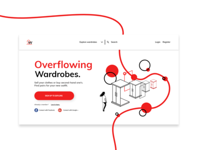 Overflowing wardrobes clothing e-shop landing page.