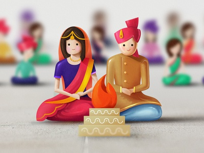 Indian Wedding - We are at something photoshop cartoon toon indian marriage love couple design illustration toys wedding