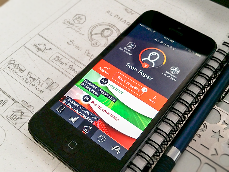 Alphary Dashboard draft wireframe mockup sketch application app iphone ios alphary foreign language learning