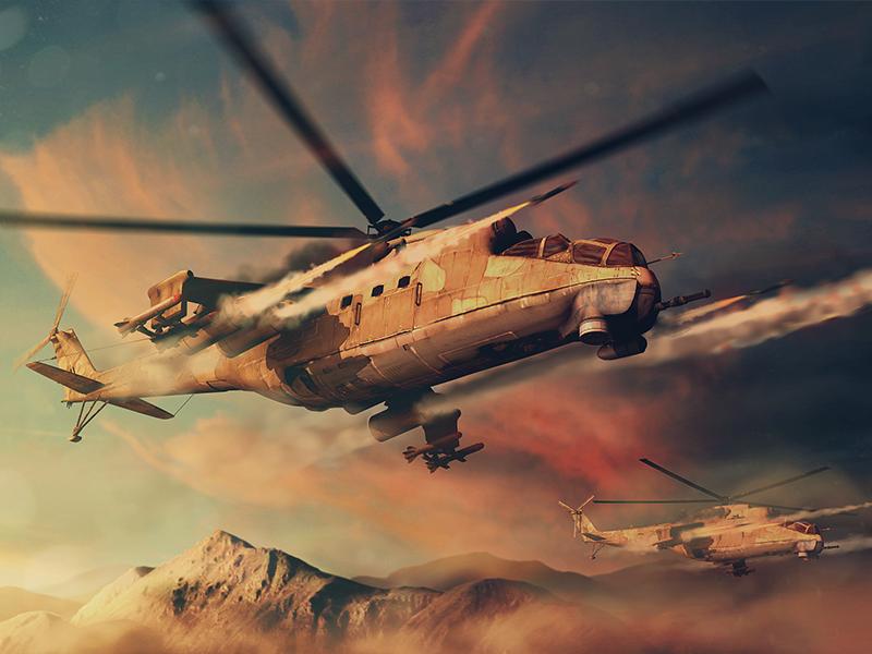 Mil Mi-24 Hind rocket action helicopter desert mi-24 mil collage 3d