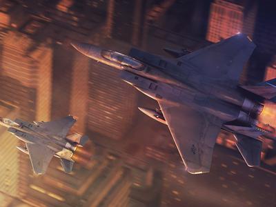 McDonnell Douglas F-15С Eagle over the city