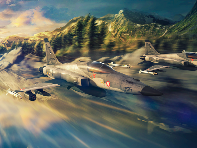 Two Austrian F-5E Tiger II ghosts unders the river tiger f5 f-5 3d military air force airplane aircraft fighter jet supersonic aviation