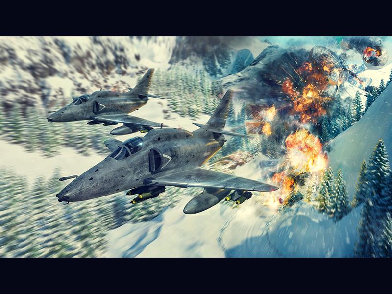 Lockheed Martin A-4AR Flighthawk base explosions warplane plane attack fighter bomb mountains winter aircraft a-4 3d