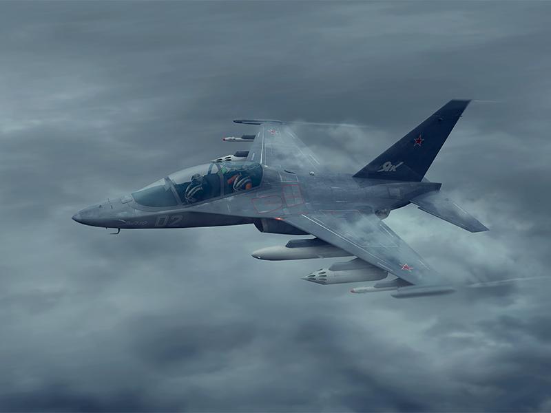 Yakovlev Yak-130 warplane plane clouds fighter depression storm yak aircraft yak-130 3d