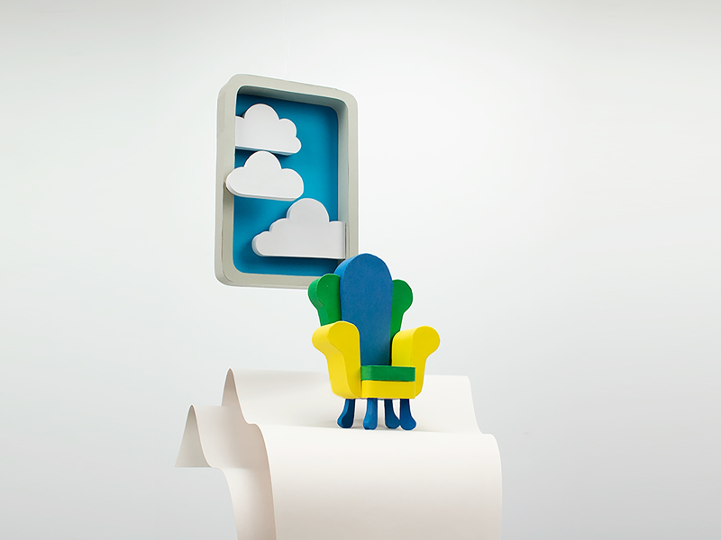 Chair for daydreaming clouds sculpture paperart papercraft