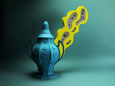 Ectoplasmic urn. craft shadow paperart illustration vase tactile design papercraft