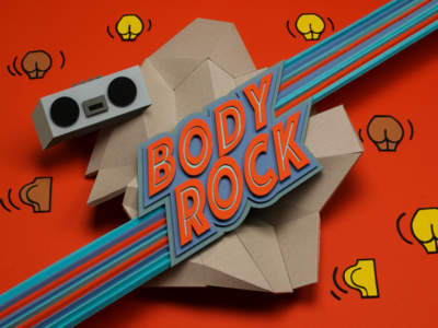 Body Rock tactile design papercraft paper butts retro funky 80s