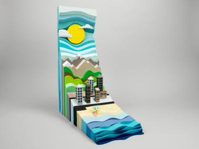 Layered landscape handmade paperart papercraft