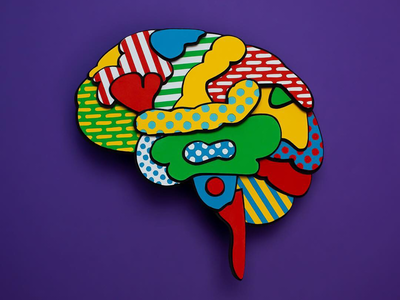 X-ray of my brain illustration pattern color papercraft paperart
