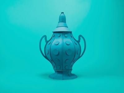 Blue urn design vase craft art handmade papercraft sculpture paperart