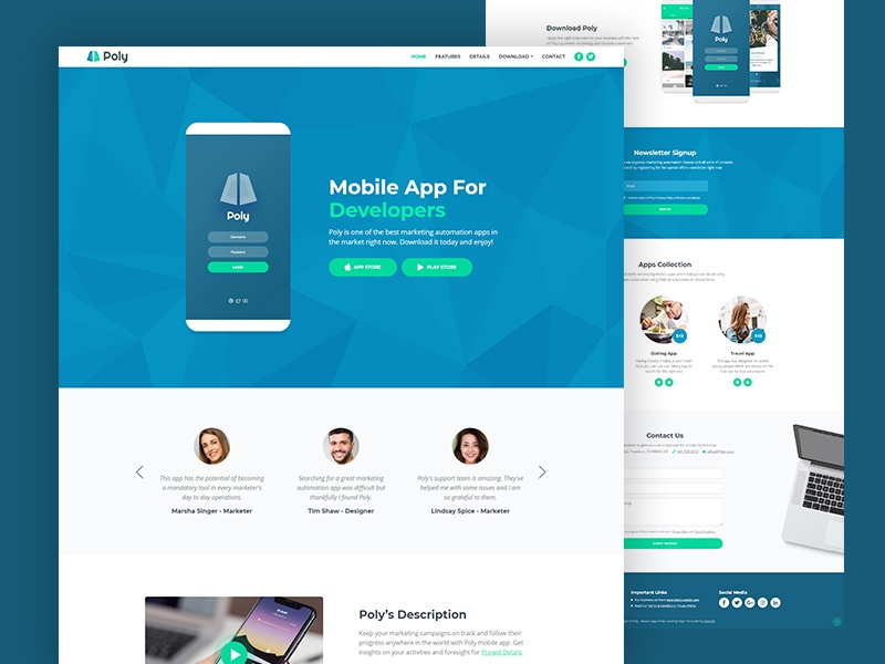 Poly - Mobile App HTML Landing Page Template by Lucian