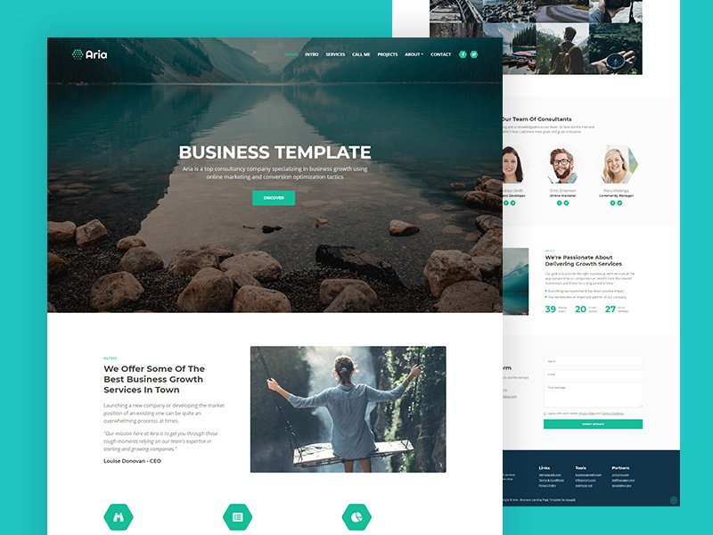 Aria Free Business Html Landing Page Template By Lucian