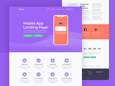 Leon - Mobile App Landing Page HTML Template