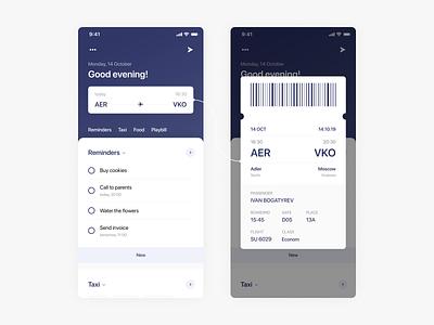 Boarding Pass Widget flight airport reminders tickets boardingpass widget dashboard clean app banner ux ui design minimalism flat