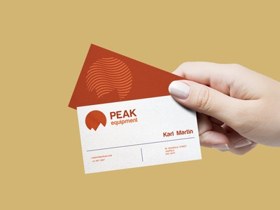 Peak Business Card orange red equipment outdoor brand identity business card typography mockup illustration flat minimal logo graphic design design branding