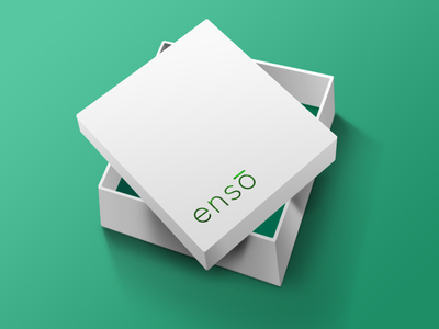 Ensō Packaging box green embossed foil enso package design packaging brand identity mockup flat minimal logo graphic design design branding