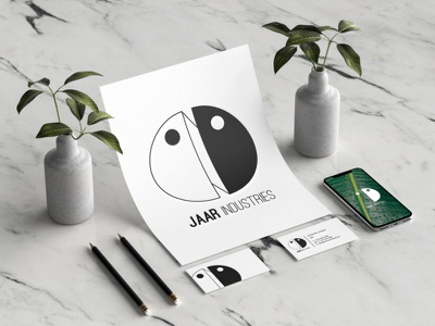 Jaar Branding mockups device app industries jaar corporate simple clean identity illustration flat mockup minimal logo graphic design design branding