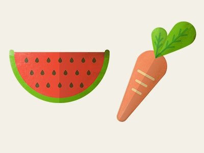 Fruits and Veggies icons stcikers petpoc fruit vegetables texture