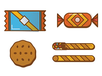 Sweet! icons illustrations food texture vector