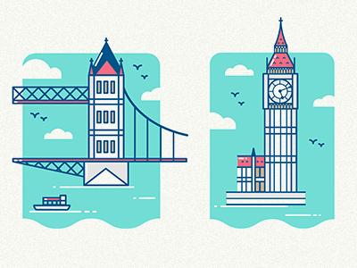 London Icons london icons city tower bridge big ben uk buildings history illustrio