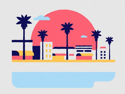Venice Beach  palmtrees summer boardwalk venice beach attraction tourist us snapchat filter icon illustration