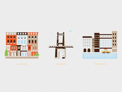 NYC II harlem midtown queens bridge filter nyc new york architecture building icon illustration
