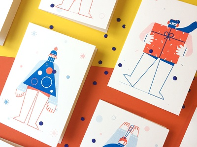 Postcards! friends sweater gift holiday postcard print risograph illustration