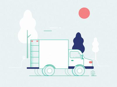 Truck experiment landscape identity transport truck vector texture illustration